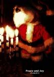 Teddy playing Santa whilst lighting the menorah.