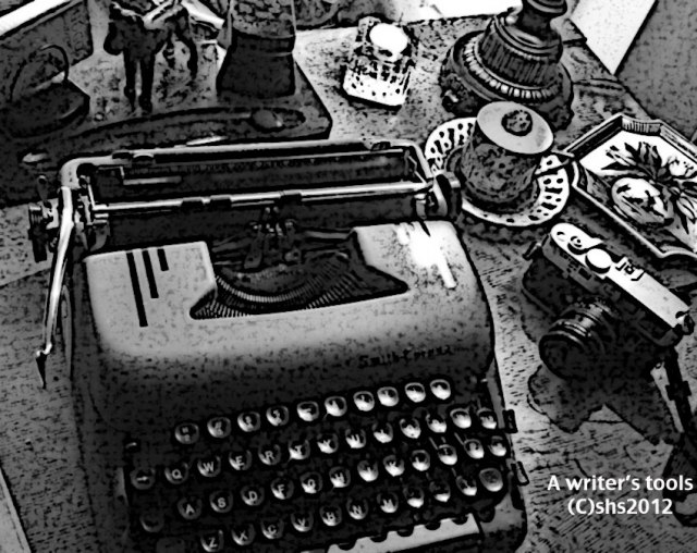 A black and white photograph  of my typewriter and desk items, Susan Sheldon Nolen