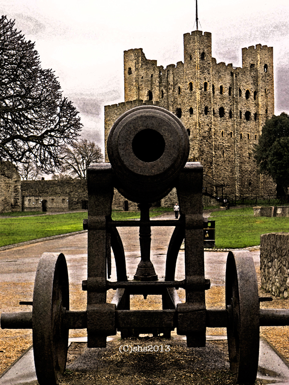 Photograph of cannon in front of Rochester Castle by susan sheldon nolen