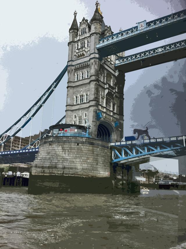 Art Photo rendition of Tower Bridge with wire fox terrier by susan sheldon nolen