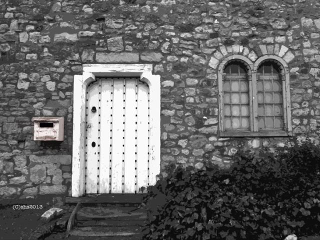 Black and White Photograph of a Castle Keep Door by Susan Sheldon Nolen