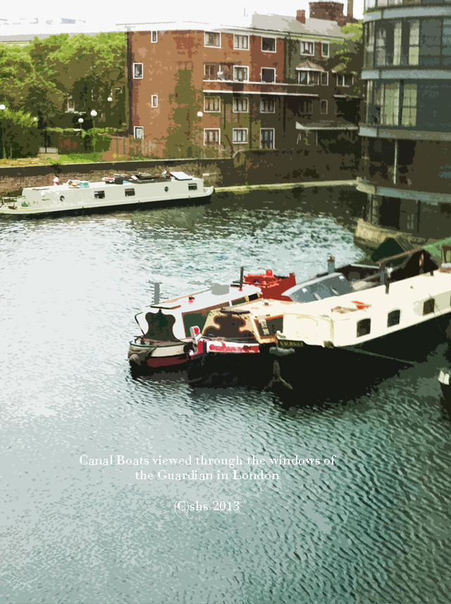 photograph of canal boats outside the guardian in London by Susan Sheldon Nolen (C)2013