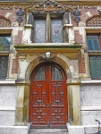 Photograph of a the doors of justice in the Hague by susan sheldon nolen 2013