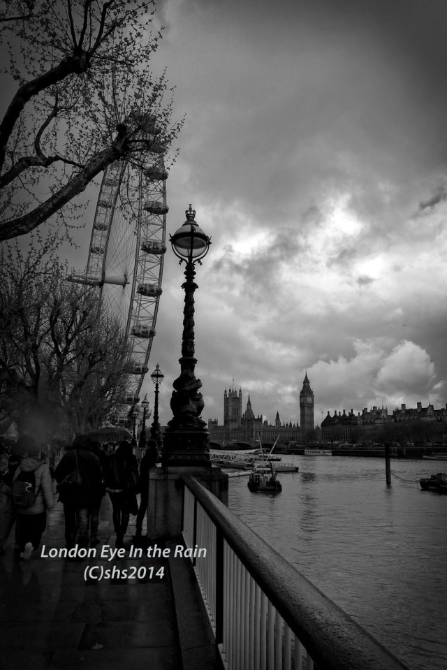 susan nolen's black and white photograph of a stormy london eye