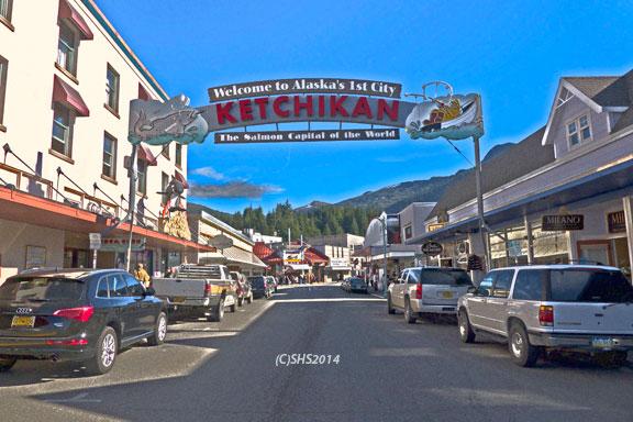 Entrance sign to Ketchikan Alaska by susan sheldon nolen