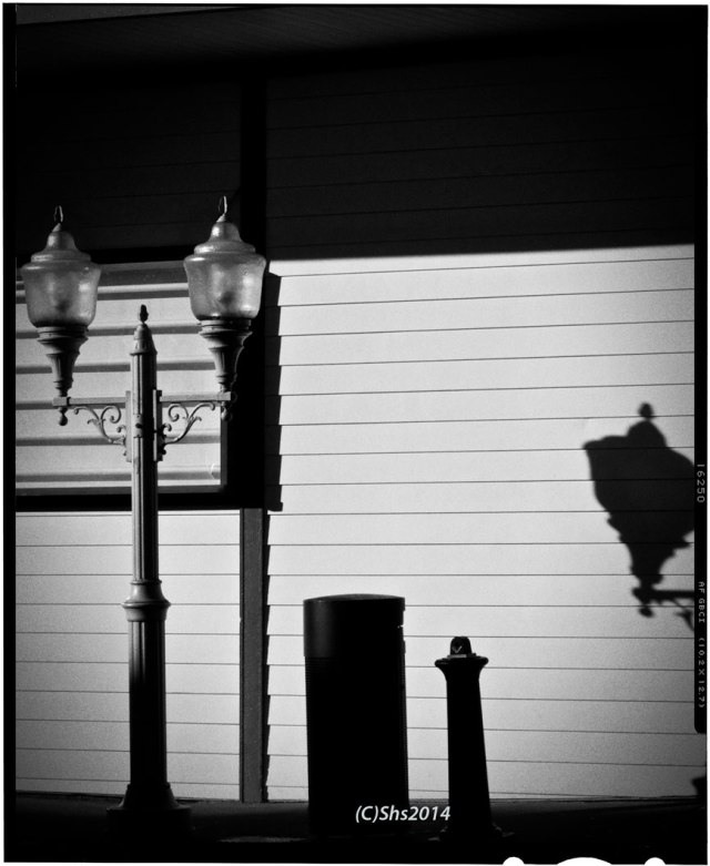 Black and White photograph of a Ketchikan Lampost by susan sheldon nolen