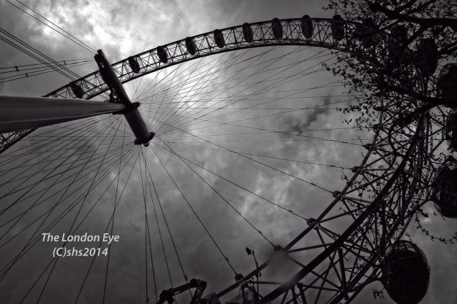 Black and White photograph of the London Eye by susan Sheldon Nolen