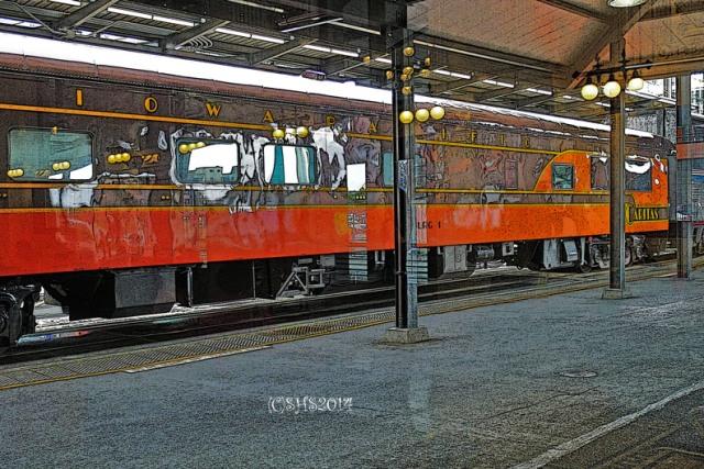 photograph of a train in Seattle by susan sheldon nolen