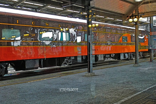 photograph of a train in Seattle by susan sheldon nolen
