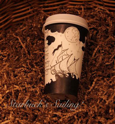 Starbuck Coffee and Sailing Ships! You bet! A perfect blend for the cup artist, Gabriel!