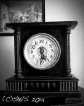 black and white photo of author's clock