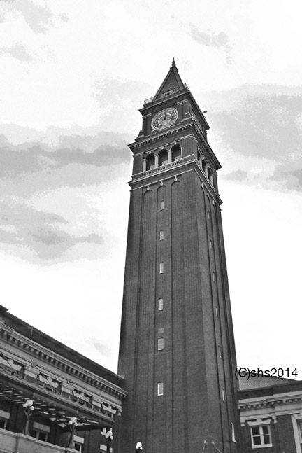 photograph in black and white of the King Street Train Station Clock Tower by susan sheldon