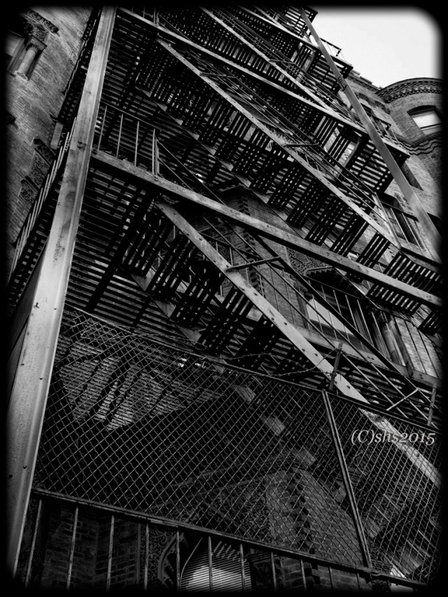 Black and white photograph of a Boston Fire Escape by Susan Sheldon Nolen