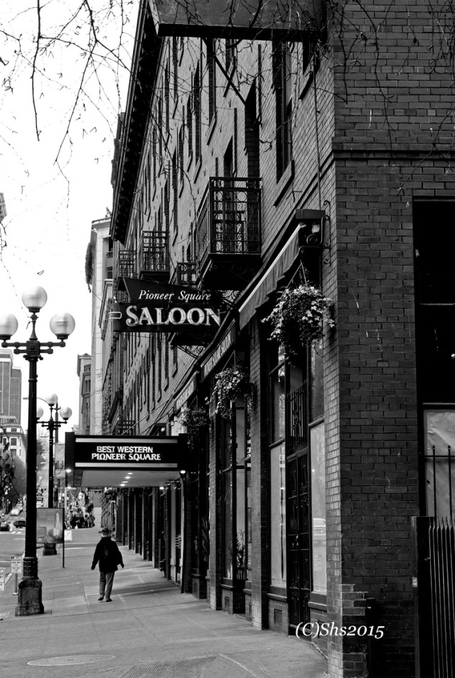 Susan Nolen's Black and white photograph of Pioneer Square Seattle