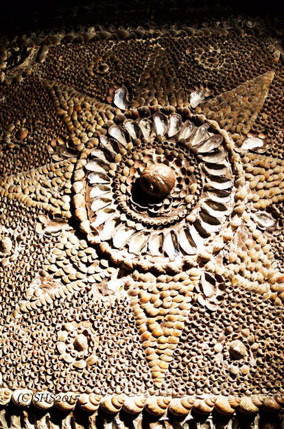 A stunning sun made out of shells or a star. It's up to the viewer to choose!
